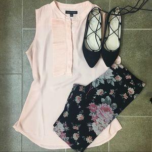 Express M black and pink floral leggings